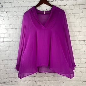 FREE PEOPLE Purple Plum Sheer Long Sleeve Blouse S